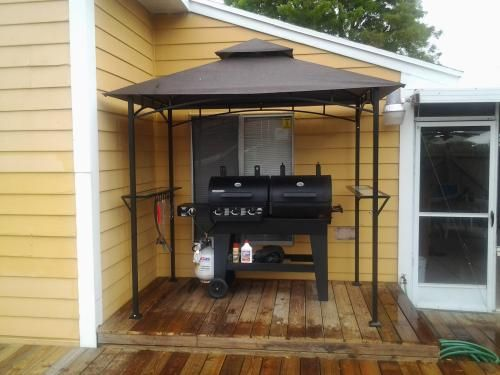 """Love the grilling station by Home Depot customer """"grillmaster"""". That canopy will help ensure the grill lasts a long time. (That's a Brinkmann Dual Function 3-Burner Propane Gas / Charcoal Grill and Smoker in the photo.)"""