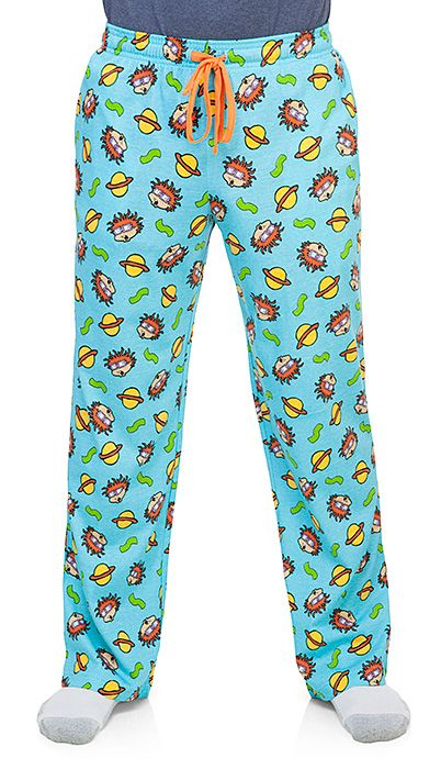 With these pants on, the world is your toaster! Blue cotton lounge pants with a pattern of worried Chuckie faces, with planets and wavy green lines from Chuckie's outfit. Keep them up with a blazing orange drawstring, the color of Chuckie's hair.
