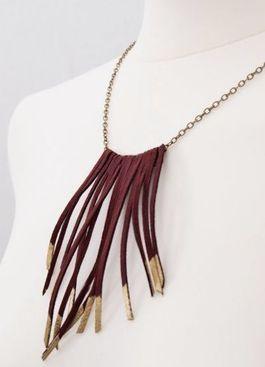 DIY tutorial: Make A Leather Fringe Necklace  via DaWanda.com