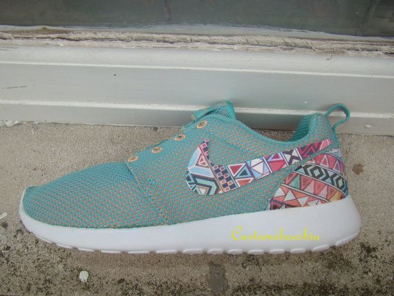 Women Kids Custom Nike Roshe Run- Rainbow Tribal Blue Green Teal Orange Roshe…