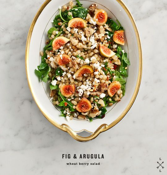 Fig & Arugula wheat berry salad  -- leave out the optional feta, and use the maple syrup or agave nectar instead of honey, and this is vegan.