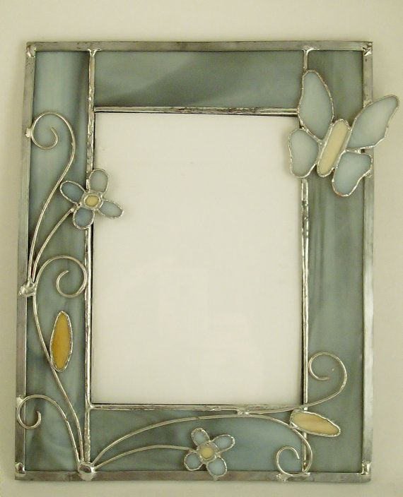 5 by 7 stained glass picture frame cream and gray