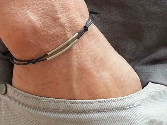 silver tubes men bracelet with black wax cord, adjustable men's bracelet, small…