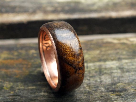 Wood wedding ring lucky Irish penny coin ring by KINGOFTHERINGS, $120.00.