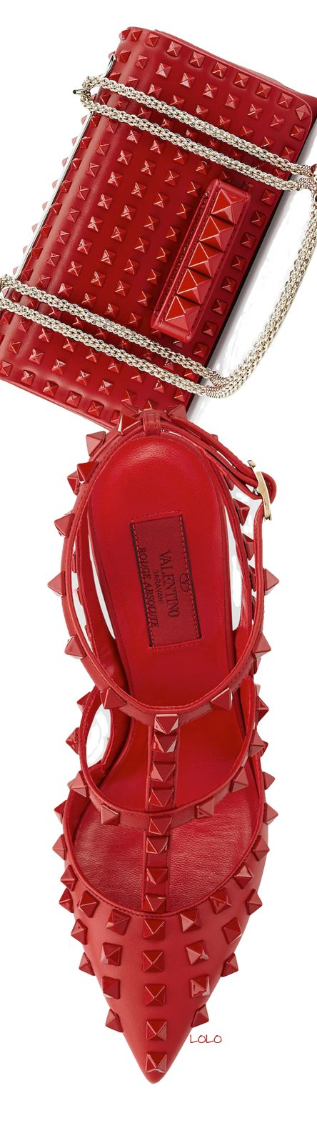 Valentino ~ Allover Rockstud Slingback Red Pump + Va Va Voom Rockstud Red Shoulder Bag, 2014