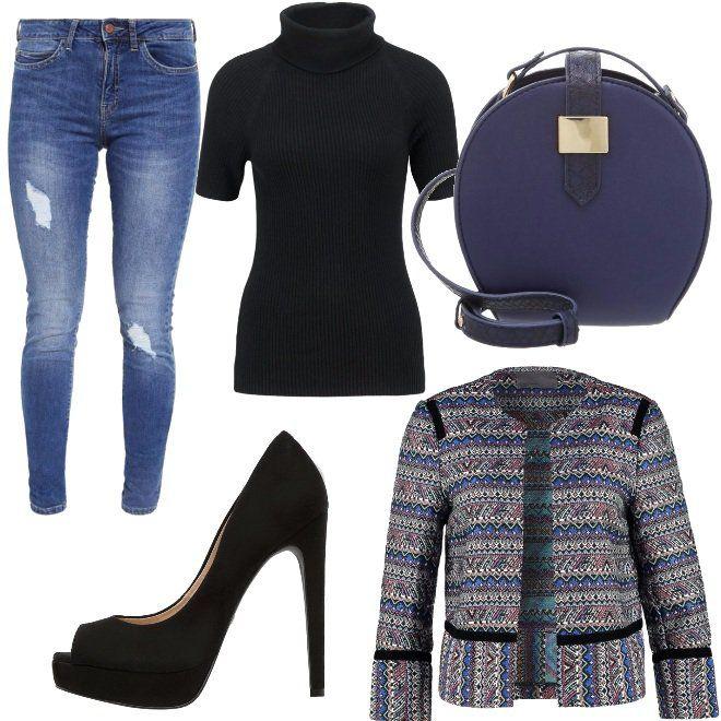 Jeans+skinny+a+vita+alta+con+strappi+abbinati+a+lupetto+mezza+manica+nero+a+costine+e+blazer+corto+con+maniche+3/4.+Come+accessori+ho+scelto+scarpe+open+toe+nere+e+borsa+a+tracolla+blu+in+ecopelle.