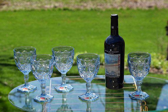 Vintage Lt Blue Wine Glasses Fostoria Moonstone Wine Glasses