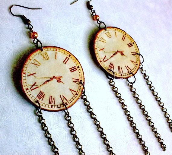 Long Chain Dangle Vintage Retro Steampunk Clock by EibhlinsJewelry, $15.00