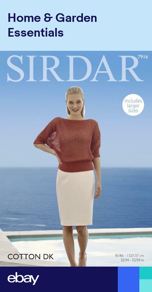 Sirdar Ladies Sweater Top Cotton Knitting Pattern 7946 DK Sirdar-7946