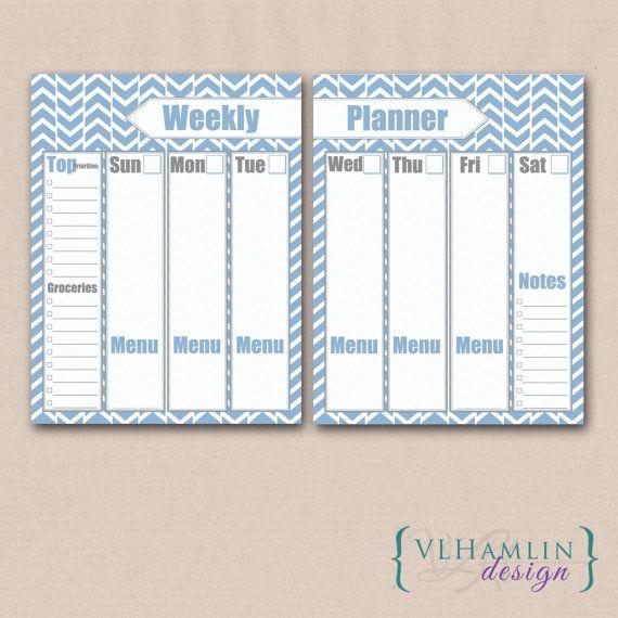 Printable Planner, Weekly Planner, 2 Page Calendar, Herringbone, Summer Sky, Instant Download
