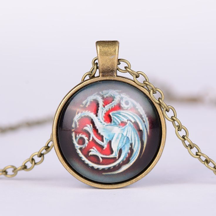 Game of Thrones Targaryen Symbol Logo Glass Metal Pendant Necklace  //Price: $US $1.45 & FREE Shipping //     #gameofthrones #gameofthronestour #gameofthronesfamily  #starks #got #agot #asoiaf