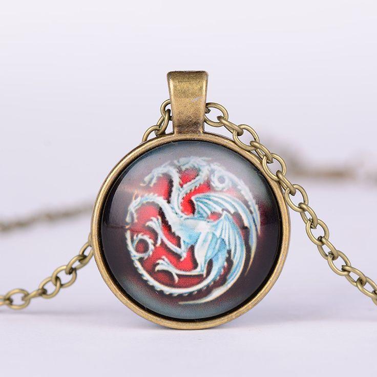 Game of Thrones Targaryen Symbol Logo Glass Metal Pendant Necklace  //Price: $US $1.45 & FREE Shipping //     #gameofthrones #gameofthronestour #gameofthronesfamily  #starks #got #agot #asoiaf
