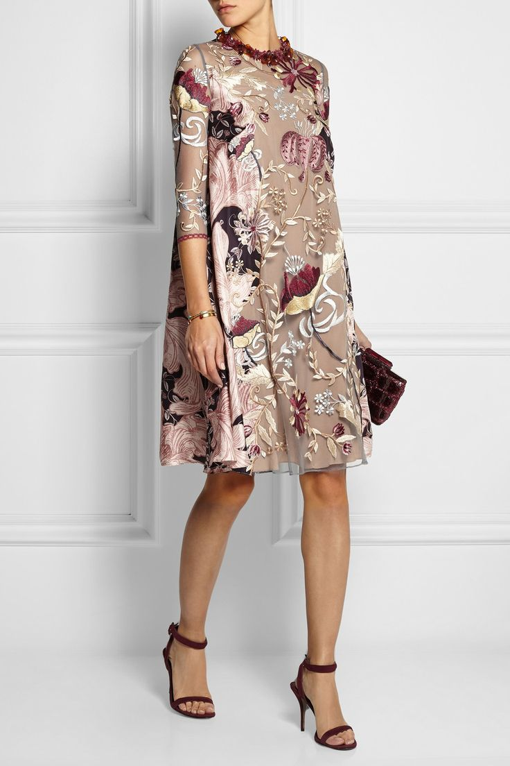Biyan|Lotta embroidered tulle and silk dress|NET-A-PORTER.COM