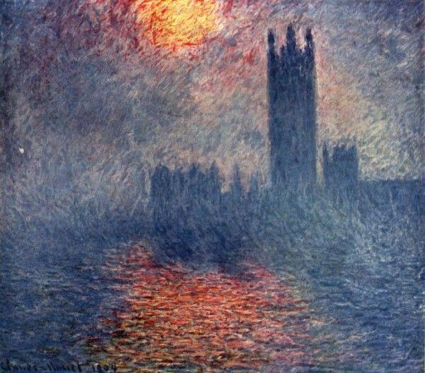 [프리즘의 발견] <런던, 국회의사당, 안개를 뚫고 비치는 햇빛> - 클로드 모네: 런던의 안개와 국회의사당을 그린 다수의 작품 중 하나이다. 날씨와 빛에 따라 같은 대상을 다르게 표현한 모네의 관찰력이 대단하다고 느껴진다.