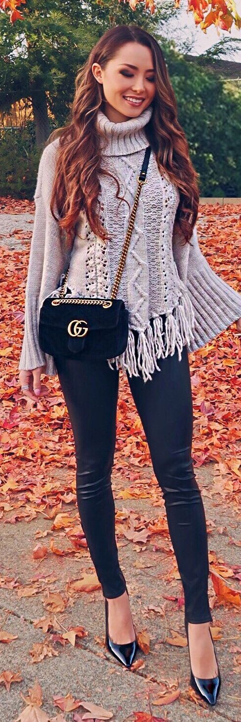 Gray fringed wide sleeve sweater