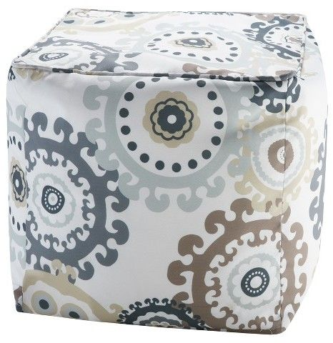 Marina Printed Medallion 3M Scotchgard Outdoor Pouf