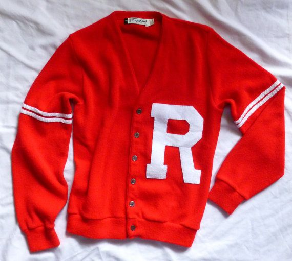 Rydell High Red Letter Sweater .. Grease Movie style by brushingby