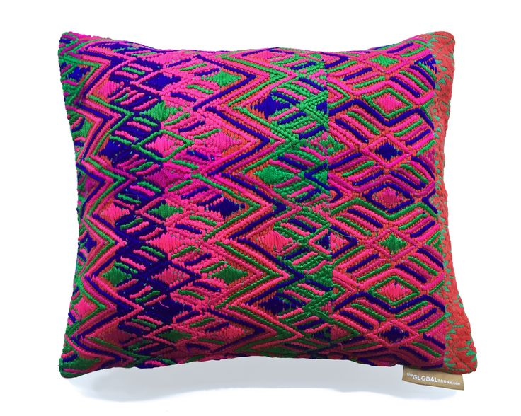 Magenta Green HUIPIL Pillow from The Global Trunk