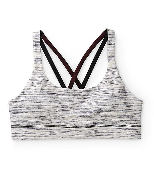 Keep the girls secure and in place with the style of this space dye print sports bra with contrast x-back strap detailing and removable cup padding for a flattering look.