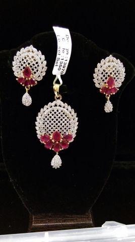 AMERICAN DIAMOND (CZ) PENDANT SET #Earringsnecklaces #pendantsets