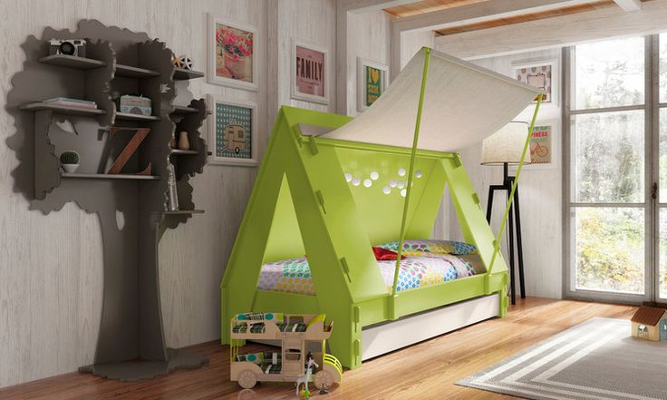 Outdoorsy types will love this tent-style bed that will make them feel like they're camping even when the next trip is months away. There's a trundle bed underneath for sleepovers, and the fabric flap folds down for secret meetings when required. Designed by Kids by Cuckooland. See more fun beds a Houzz.com