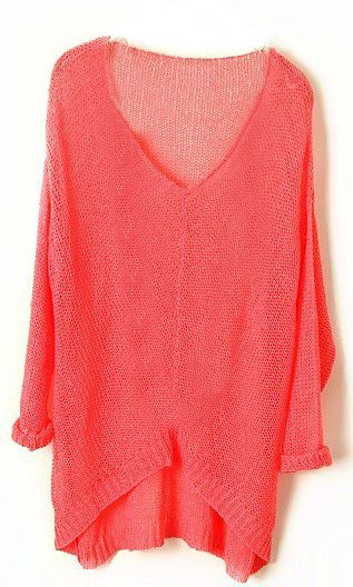 Love the color!Pink Vintage, Sheer Loose, Loose Sweaters, Bright Coral Sweater, Fall Looks With Black Leggings, Vintage Asymmetrical, Asymmetrical Sheer, Fun Fall Fashion, Vintage Fall Fashion Sweaters