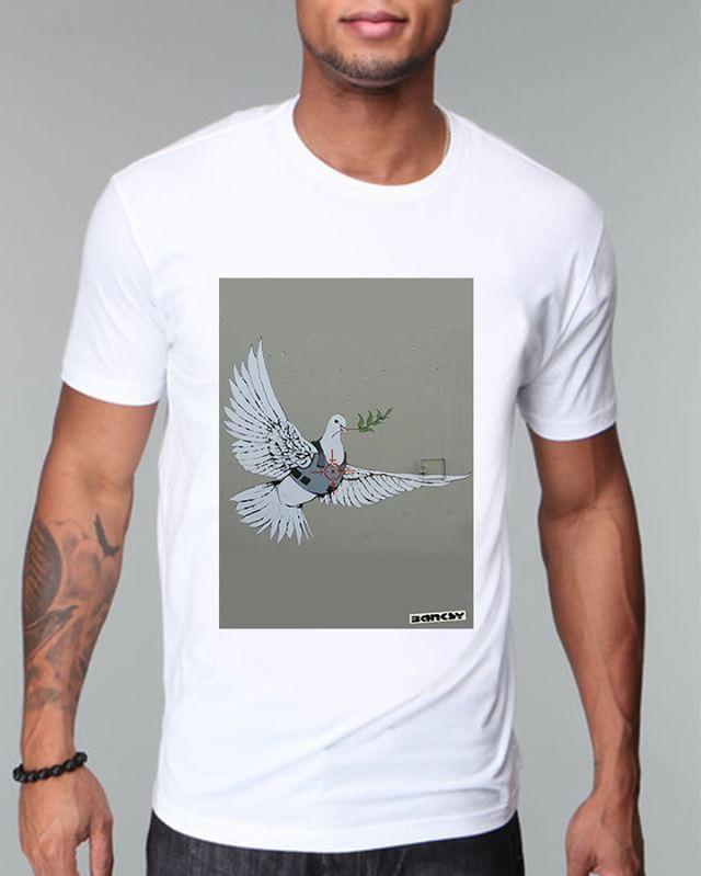 https://www.navdari.com/products-m00016-BANKSYGAZAFREEDOMBIRDSTREETARTTSHIRT.html #banksy #gaza #freedom #bird #freedombird #streetart #art #TSHIRT #CLOTHING #Men