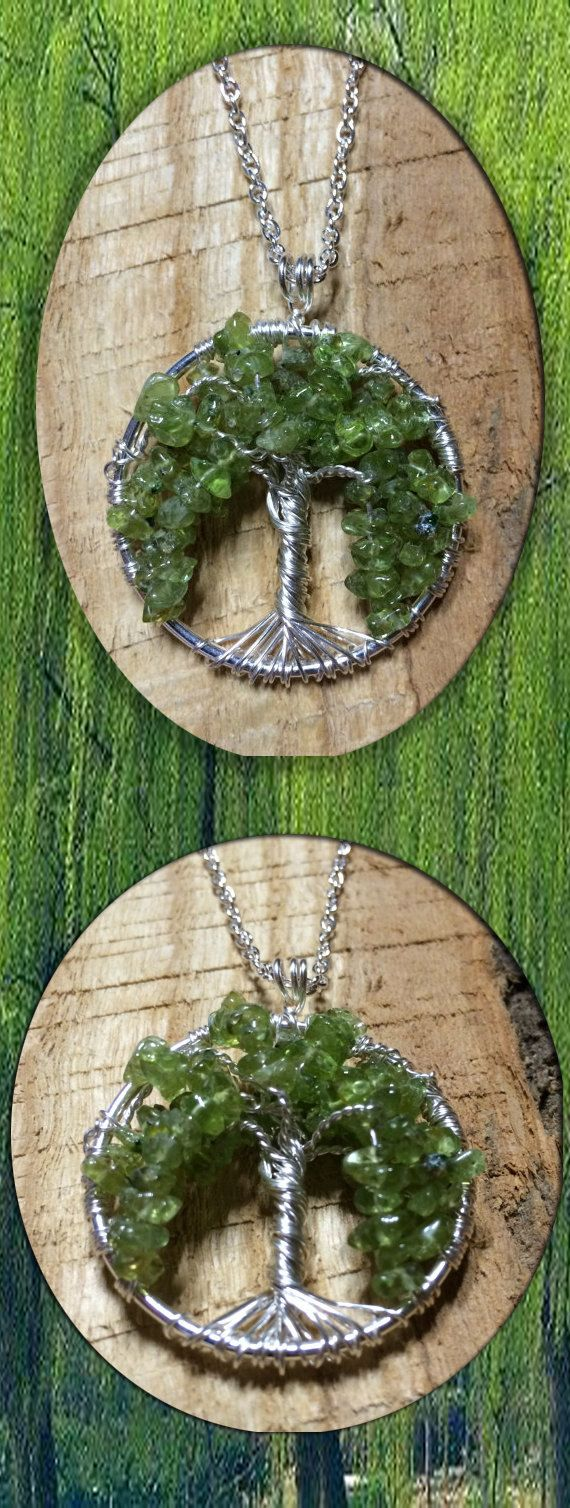 Weeping Willow Tree Of Life Necklace Green Peridot On ...