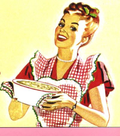 Vintage housewife in the kitchen