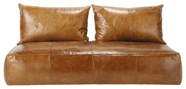 Medina Oriental Leather Sofa Daybed, Brown Cognac - asian - day beds and chaises - Maisons du Monde