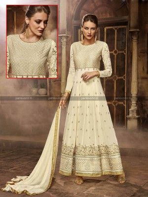 Cream Faux Georgette N Silk Anarkali Salwar Suit