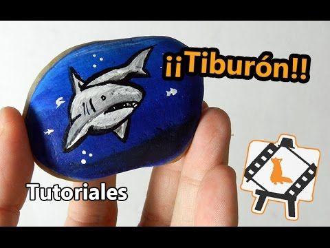 """Pintura en piedras """"Tiburon"""" / Tutoriales"""