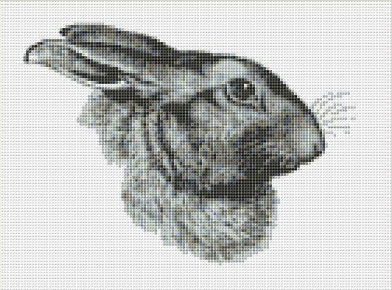 Hare Profile Counted Cross Stitch Pattern / Chart,  Instant Digital Download  (AP365)