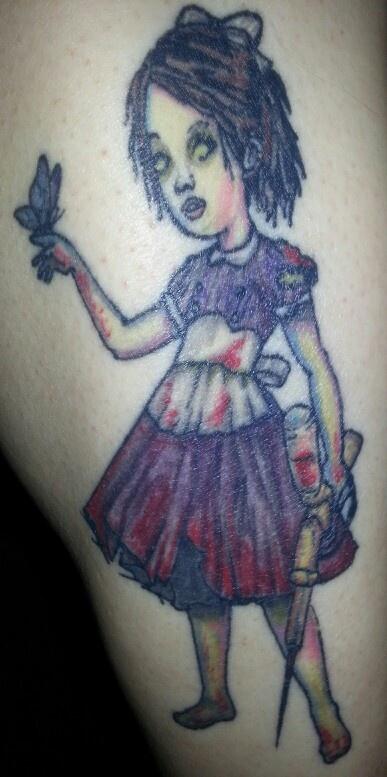Bioshock little sister on my right calf my tattoos for Bioshock wrist tattoo