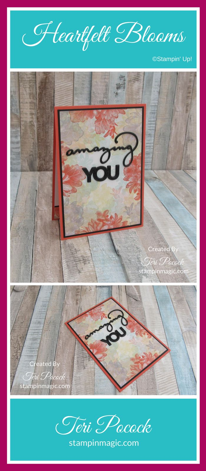 Heartfelt Blooms by Stampin Up. Created by UK Independent Demonstrator Teri Pocock. Click through for more details.#teripocock #stampinup #stampinupuk #heartfeltblooms #videotutorial