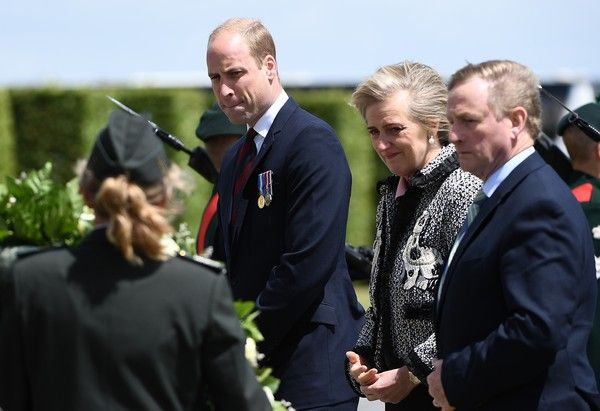 Prince William Photos Photos - Britain's Prince William (L), Duke of Cambridge, Princess Astrid of Belgium (C) and Irish Prime Minister Enda Kenny  attends the Battle of Messines Ridge commemorations in Messines on June 7, 2017.. The Battle of Messines took place June 7-14, 1917 and was an offensive conducted by the British Second Army, during the First World War. / AFP PHOTO / EMMANUEL DUNAND - The Battle of Messines Ridge Commemoration