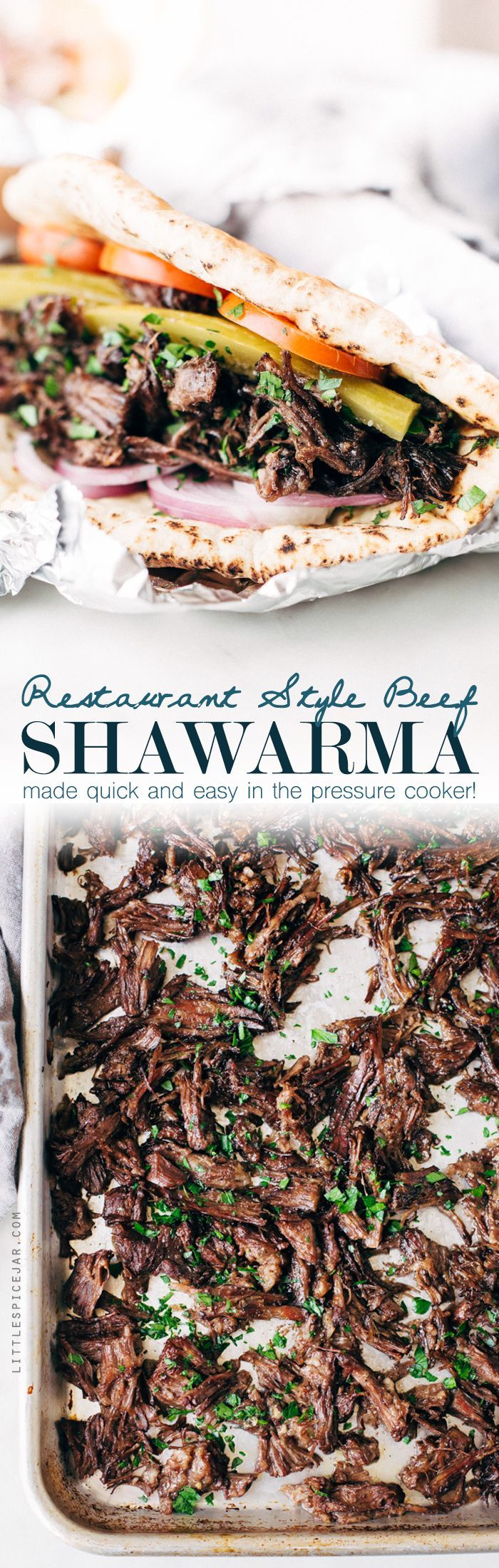 The BEST shawarma made in the pressure cooker. We're using homemade shawarma seasoning and loading it all into the Instant Pot. It's so good! This shredded beef can be used immediately or frozen for later! Little Spice Jar
