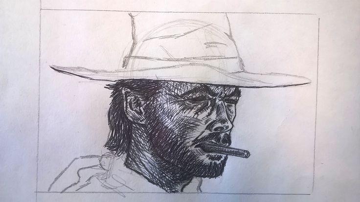 Caricatura di Clint Eastwood, matita e penna - Drawing of Clint Eastwood, pencil and pen Work in progress