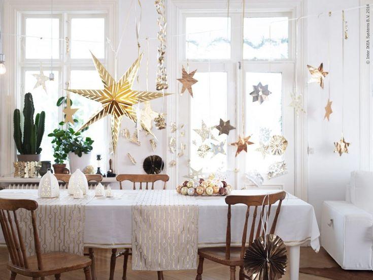 Jul på IKEA 2014: STRÅLA stjärna, diameter 100 cm. VINTERFINT bordslöpare, STRÅLA LED lyktor.