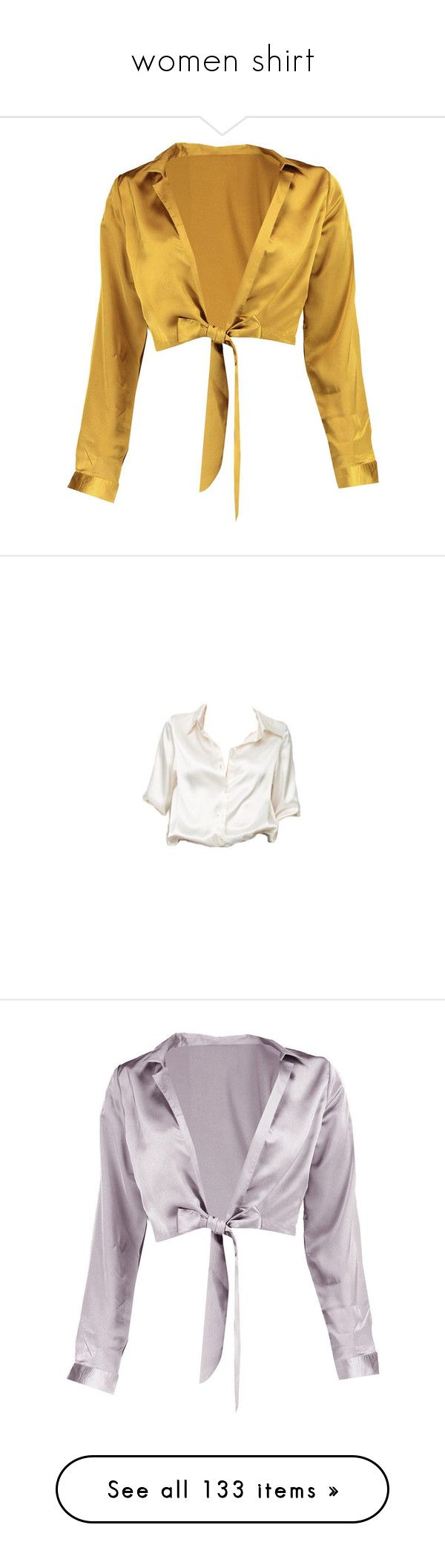"""women shirt"" by fashionbavyblue ❤ liked on Polyvore featuring tops, blouses, shirts, crop tops, petite tops, shirt blouse, shirt crop top, tie front blouse, brown blouse and crop top"