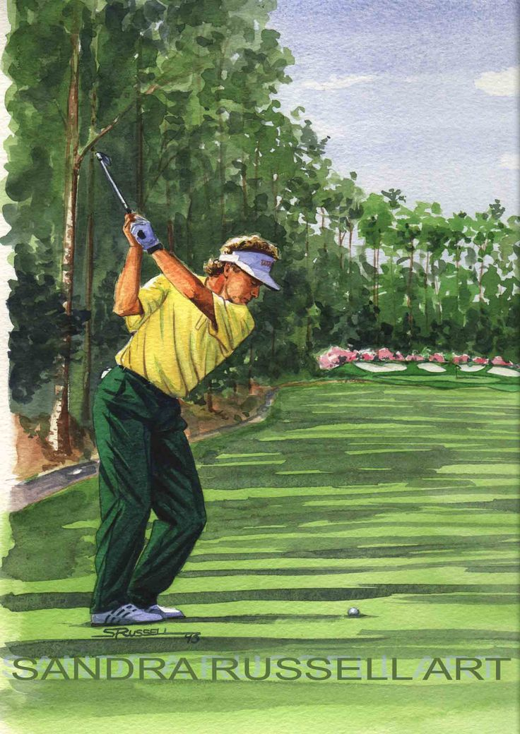Close up of watercolour illustration of Bernhard Langer for Golf Weekly magazine by Sandra Russell