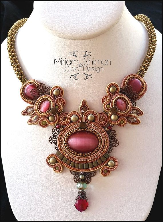 Raspberry+Olive+and+Bronze+Soutache+necklace+by+MiriamShimon