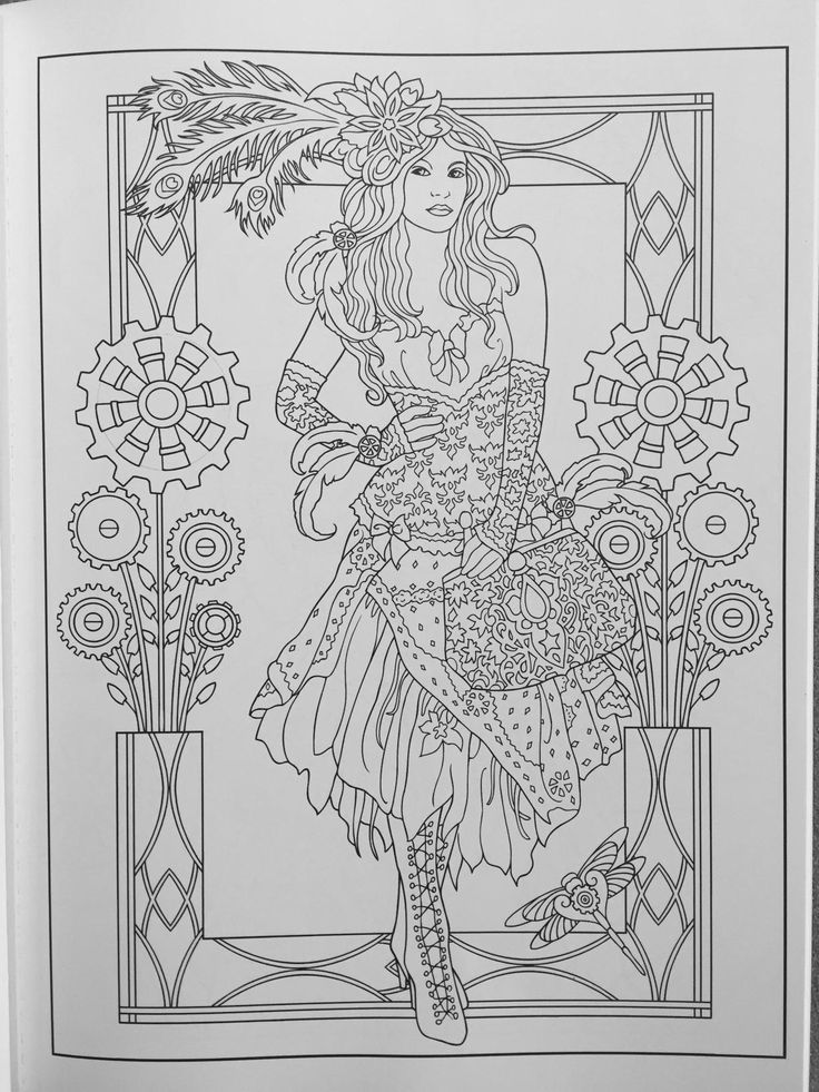Creative Haven Steampunk Fashions Coloring Book (Adult ...