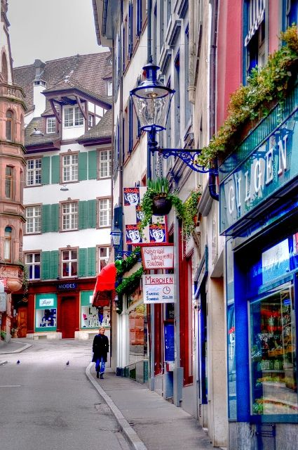 The colorful streets of Basel's Old Town.