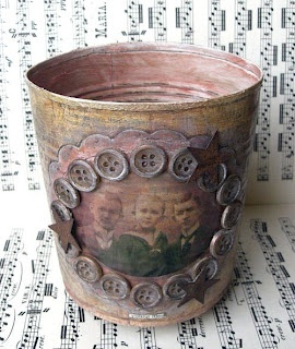 Altered Rusty Tin Can With Photo & Buttons