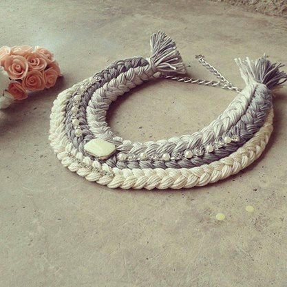 Braided necklace, braid necklace, woman accessories, handmade necklace, Ibiza style jewelry, braids necklace, grey necklace, textile jewelry