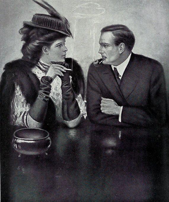 1909 #beautiful #Smoking #Couple #edwardian #victorian #smoker #tobacco #tobacciana #man #woman #vintage #antique #clarence #underwood #Print #bookplate #plate #romance #romantic #love #evt by OakwoodView