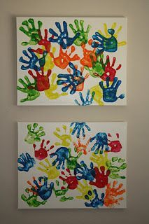 I love this idea of having the kids put their handprints on canvas!