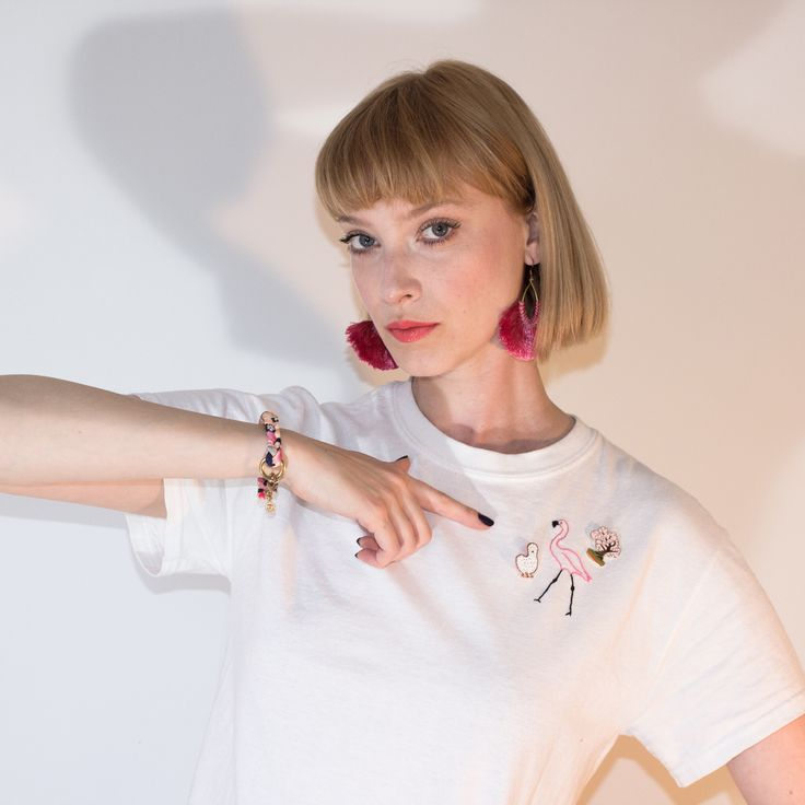 HAND EMBROIDERED FLAMINGO ON WHITE TEE IN MONTREAL, CANADA