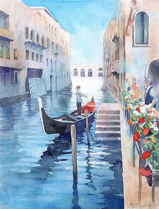 【水彩画テラス】ヨーロッパの風景4「ゴンドリエ達」ベネチア /福井良佑 作